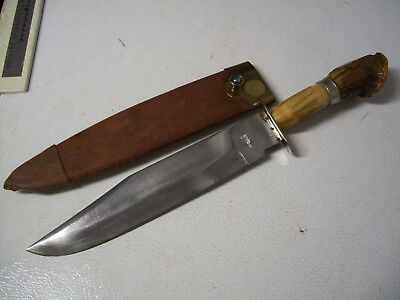 "Vintage Hand Made Bowie Knife, Blade Stamped ""Birmingham"" With a Crown,"