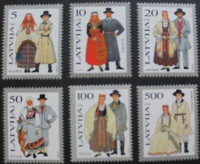 Latvia traditional costumes stamps, 1993, SG ref: 370-375, 6 stamp set, MNH