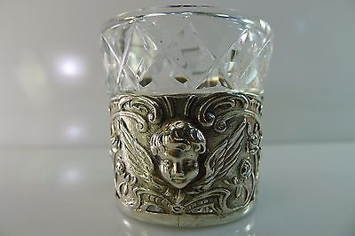Rare Old German Hallmarked Small Silver Angel Cup / Goblet With A Crystal Glass