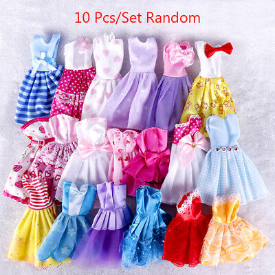 Beauty 10Pcs Barbie Doll Handmade Dress Wedding Party Mini Gown Fashion Clothes