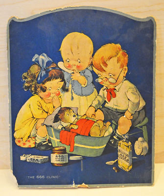 Vintage 2 Sided Advertising Fan For 666 Products     Tonic, Salve, Pills From A