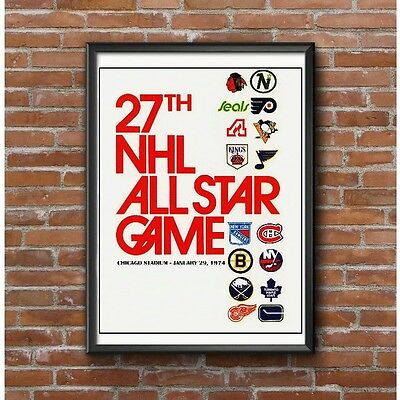27th NHL Hockey All Star Game 1974 Poster - 16 Teams Chicago Stadium