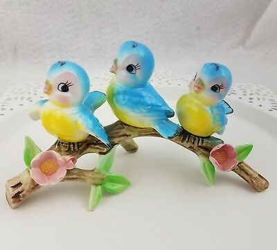 VTG 60's Norcrest Blue Bird Trio 3 Birds On Branch Log Figure Japan Lefton