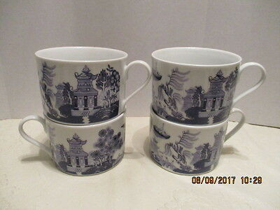 4 Bristal House Asian Blue White Pagoda/Birds/Boat/Trees Coffee Cups