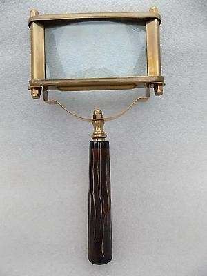 New Antique Color Brass Square Shape Big Magnifying Glass Magnifier Map Reading