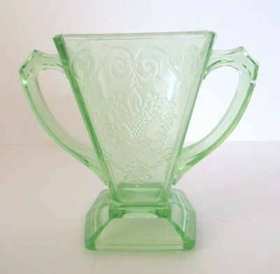 1930'S Green Depression Uranium Footed Open Sugar - Lorain by Indiana Glass