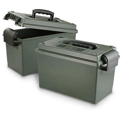 2 Pack .50 Caliber Ammo Cans Rugged Storage Box For Tools Parts First Aid Supply