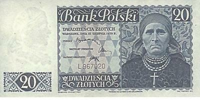 Reproductions--Polish Government In Exill 1939--20 Zloty--Blue--Copy--Unc