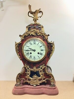 Fine 19thc French 8 Day Red Shell & Brass Boulle Mantel Dublin Clock jape frere