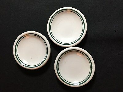 Vintage Set of 3 Ironstone Butter Pat Dishes with Double Green Ring