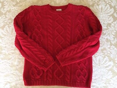 Talbot Kids Cable Knit Pullover Sweater Deep Red EXCELLENT CONDITION Size 10