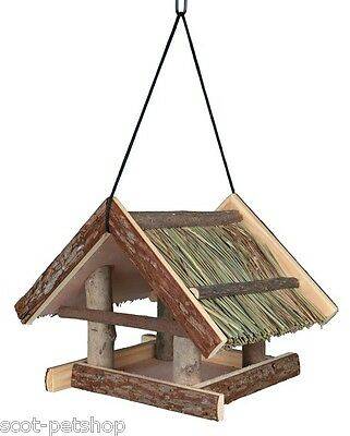 NEW Hanging Natural Wood Bird Feeder With Grass Roof 55661