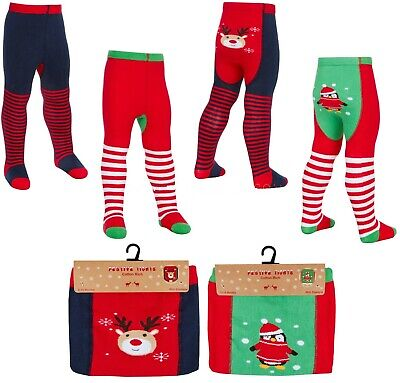 Baby Christmas Festive Tights With Grips Cotton Rich Santa and Rudolph 6 - 24 M