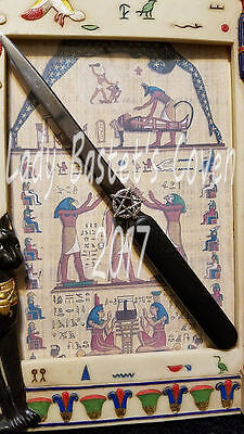 """☽✪☾ Wiccan Pagan 7"""" Athame Knife HAND EMBELISHED with Pentagram - Velvet Pouch"""