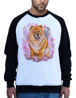 New Men/'s Watercolor Chow Chow Dog White Raglan Hoodie Puppy Animal Lover B841