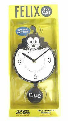 New In Package Felix The Cat Motion Pendulum Wall Clock With Twitching Tail