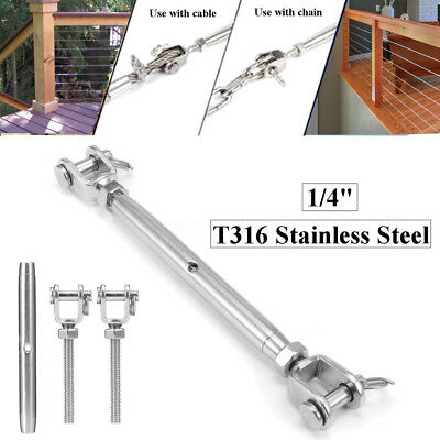 M5 316 Stainless Steel Rigging Screw Closed Body Jaw Turnbuckle 136mm