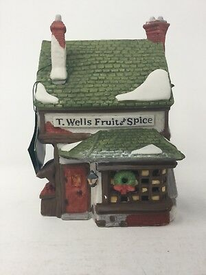 Heritage Village Collection Dickens Village Series T Wells Fruit Spice Shop 1988