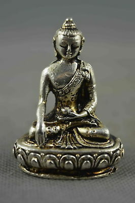 Collection Handwork Decor Miao Silver Carving Vivid Buddha Sit Lotus Pray Statue