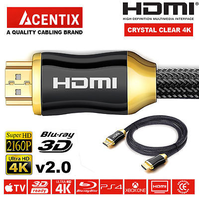 High Speed HDMI Cable With Ethernet Supports 1080P 3D & Latest UHD 4K For XBOX