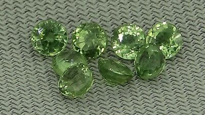 set of 8 round natural green sapphires 1.28ct Genuine Loose Gemstones