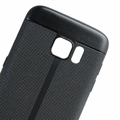 For Samsung Galaxy S7 - Plastic Leather TPU Rubber Phone Case Cover Black Skin