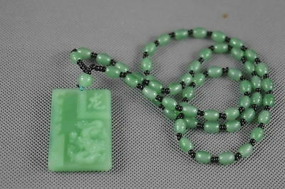 Exquisite Collection Handwork Burnish Jade Carve Zodiac Dragon Exorcism Necklace