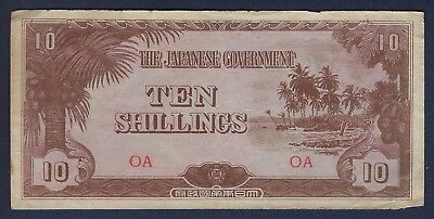 OCEANIA P-3a, 10 SHILLINGS, 1942 * WW11 * JAPANESE OCCUPATION
