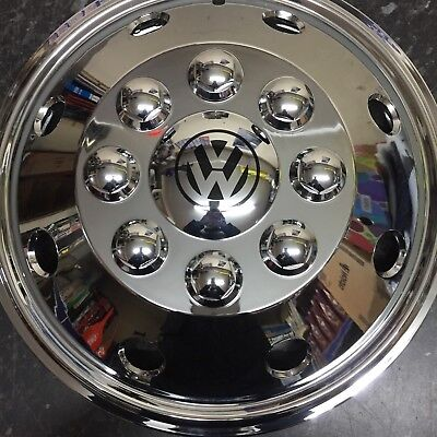 "16"" Vw Crafter Lt35 Van Chrome Extra Deep Dish Wheel Trims Hub Caps X4 Vw Blk"