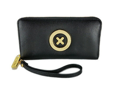 Mimco black supernatural cow leather phone wallet gold hardware