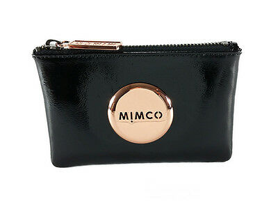 Mimco black with rose gold patent leather small pouch