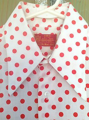 Vintage SEARS KINGS ROAD The Men's Store POLKA DOT Button Down Shirt Red White