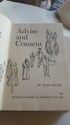 1959 1st Edition ADVISE AND CONSENT Allen Drury Pulitzer Prize HC