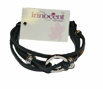Disc Leather Wristband Ladies Black One Size