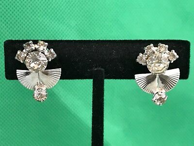 LG Silver Tone Rhinestones Vintage Clip On Screw Back Earrings Collectible Gift