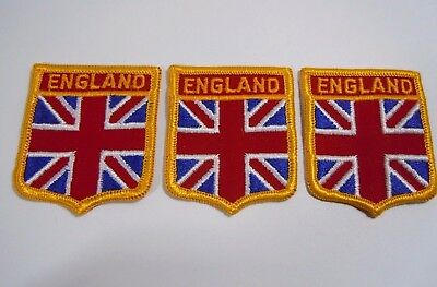 "LOT/3 ENGLAND UK Great Britain Embroidered Iron On Jacket Patch 2"" x 2.25"""