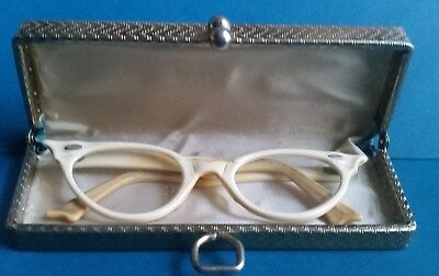 VINTAGE 1950's CAT EYES PLASTIC GLASSES WITH HARD SHELL  CASE PURSE-NICE