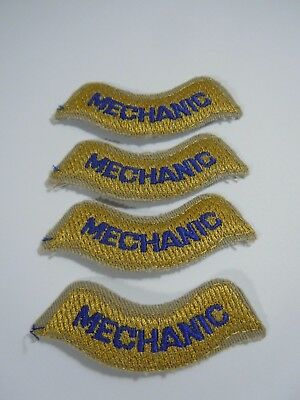 "Lot/4 MECHANIC Iron On Embroidered Uniform-Jacket Patch 2.75"" x .75"""