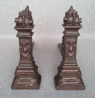 Antique pair of small chenets France made of cast iron 19th century fireplace