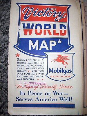 Mobilgas Victory World Map Ww Ii 1943  E. W. Gustafson Hampshire Ill Illinois