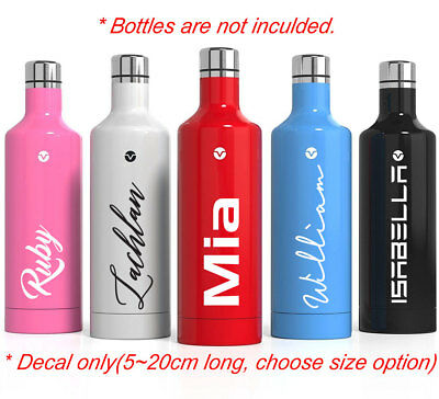 Personalised Drink Bottle Name Sticker Custom Sports Goods Decal Dishwasher safe