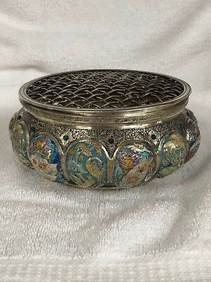 Hand Painted Enamel Color Solid Silver ,Persian Iranian Silver Dry Flower Holder