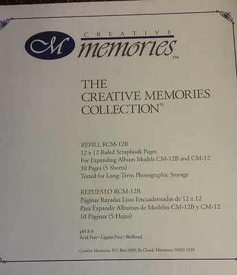 Creative Memories 12x12 Scrapbook Ruled Pages 5 Sheets/10 Pages ~ NEW Sealed