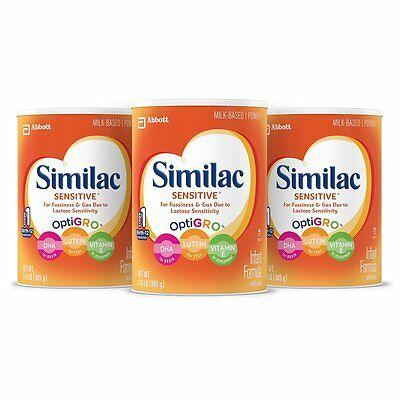 PACK OF 3  - Similac Sensitive Infant Formula with Iron Powder 34.8 oz Cans