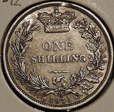 British Silver Shilling - 1871 Die #12 - Queen Victoria - $1 Unlimited Shipping