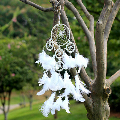White Handmade Dream Catcher With feathers  Home Wall Car Hanging Ornament Decor