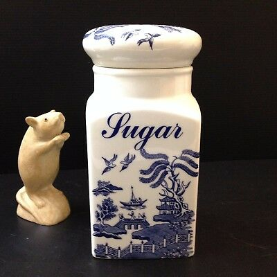Regal, England - Ceramic Blue Willow SUGAR CANISTER With Lid - 20cm