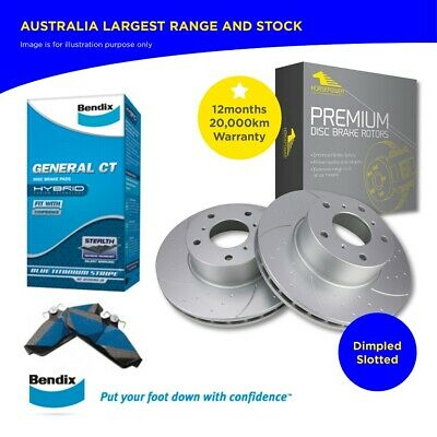 Holden COMMODORE VT VX VY VZ Rear Dimple Slotted Rotors and Bendix Brake Pads
