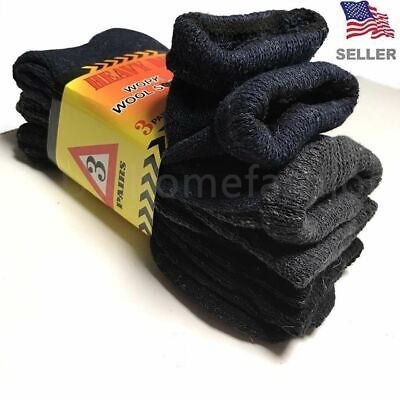 New 3 Pairs Mens Winter Heavy Duty Warm Work Wool BOOTS Socks Cotton Size 9-13