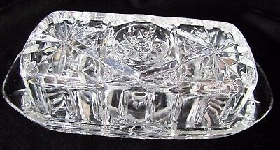 Vtg Anchor Hocking EAPC Star of David Covered Butter Dish Clear Pressed Glass
